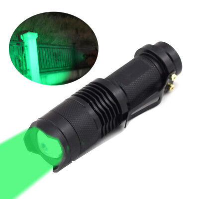 Zoom Green Light Flashlight AA Battery Operated XPE LED Lamp Fishing Green Torch