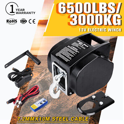 12V 6500LBS Electric Winch 10m Steel Cable With Remote Control Boat Ship Trailer