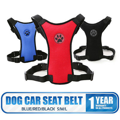 New Dog Car Strap Air Mesh Harness + FREE Pet Seat Belt Lead Small Medium Large