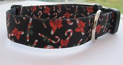 Christmas dog collar or lead candy cane holly red grooming Gift Handmade pink