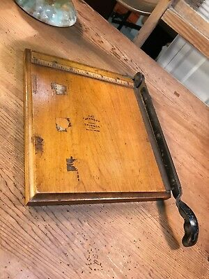 Vintage English Timber & Cast Iron The 'Jaynay' Paper Cutter Trimmer & Rule