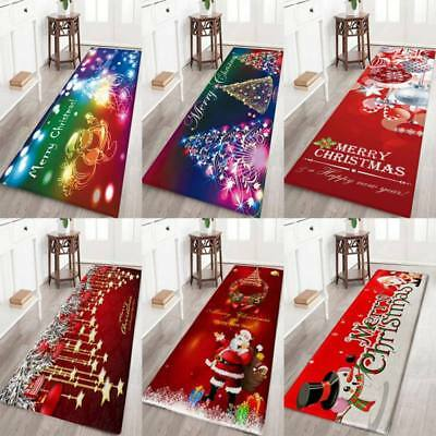 HOT Christmas Santa Claus Anti-slip Kitchen Home Room Floor Mat Decor Carpet Rug
