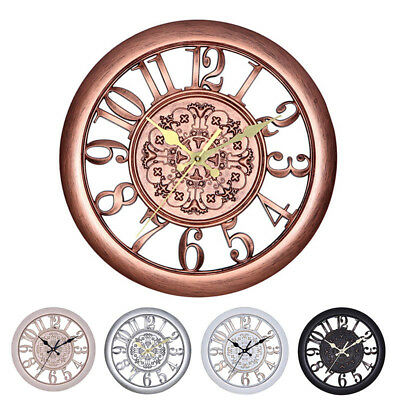 3D Circular Retro Vintage Roman Hollow Out Large Wall Clock Home Room Decor GYTH