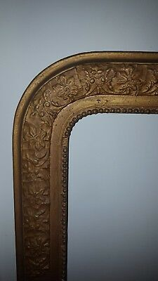 """FRENCH WOOD GOLD ANTIQUE VINTAGE ARCH LARGE WALL MIRROR 28"""" x 21"""""""