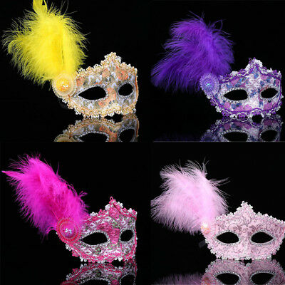 Masquerade ball Couple date fancy Dress up midnight Party feather eye Mask NEW