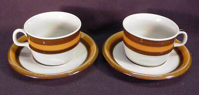 2 Rorstrand Annika Sweden Brown & Orange Cups And Saucers