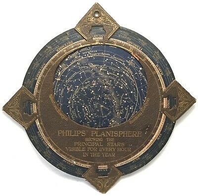"PAIR Estate PHILIPS PLANISPHERE 12.5"" Antique Astronomy Map PRINCIPAL STAR Guide"