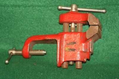 Good Size Antique Vintage Craft Carpenters Red Anvil Bench Tool Vice INV#RH10