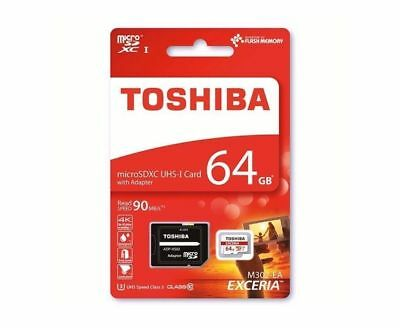 Toshiba 64GB EXCERIA 4k 90MBPS Micro SD With Adapter CLASS10 MicroSD Card NEW