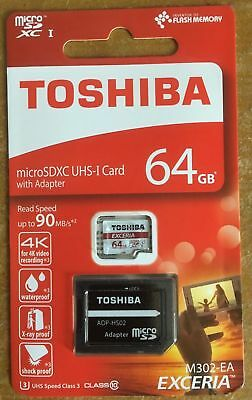 Toshiba 64GB Exceria M302 Micro SD Memory Card 4K Authentic Guaranteed BRAND NEW