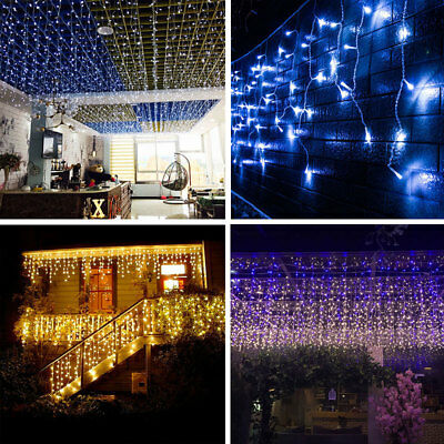 5m Outside Outdoor Selv Led Icicle Christmas Lights Connectable Tail Plug Uk