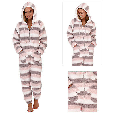 Loungeable Womens Multi Stripe Sherpa All In One Ladies Hooded Mitten Sleepsuit