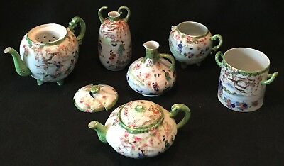 6pc 19th c. Assorted AS IS Kutani Hand Painted Japanese Eggshell Porcelain Lot