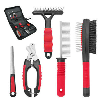 5pcs Pet Hair Scissors Set Dog Grooming Cutting Thinning Curved Shears Comb Kit