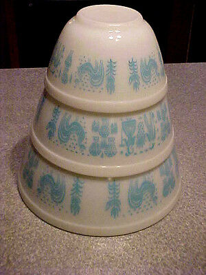 Pyrex Set 3 Vtg Amish Butterprint Blue White Nesting Mixing Bowls 401 402 403