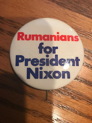 Rumanians for President RIchard Nixon Offiical 1972 campaign button pinback