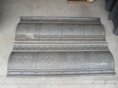 "Lot Of 2 Vintage Tin Ceiling Cornice Pieces - 48 3/4"" X 17 1/4""     0128-12"