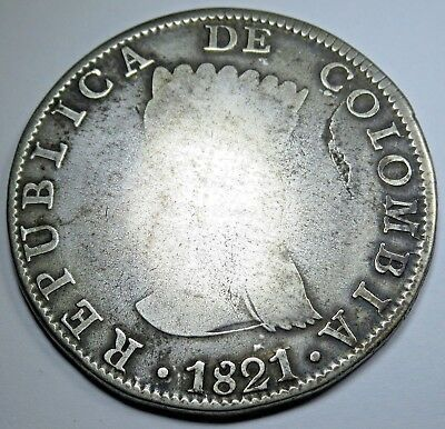 1821 BA JF Colombia 8 Reales Silver Eight Real Cundinamarca Spanish Pirate Coin