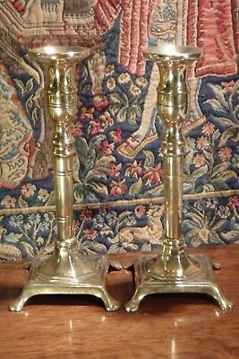 A PAIR of ANTIQUE * SPANISH * 18th CENTURY  BRASS CANDLESTICKS C.1790