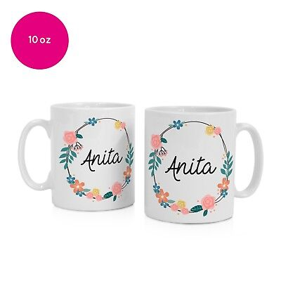Personalised Name Floral Mug Cup Gift Gifts Message Printed Birthday Christmas