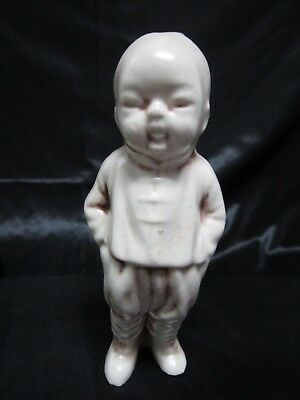 Chinese Man Figurine Asian With Ponytail Statue Ceramic Hollow Cream White Old