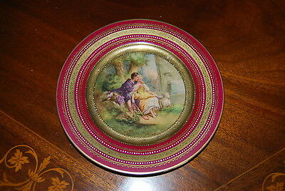 Royal Vienna Beehive Burgundy And Gold Jeweled Romantic Cabinet Wall Plate # 1