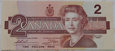 Consecutive 1986 Canadian Two Dollar Banknotes Crisp Uncirculated CBA Series