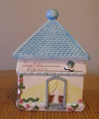BLUE ROOF SUGAR HOUSE  Large Ceramic Cookie Jar Raised Design On All Sides