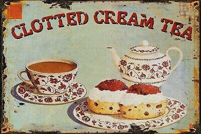 Clotted Cream Tea Vintage Retro Metal Sign, kitchen, gift, Advertisment