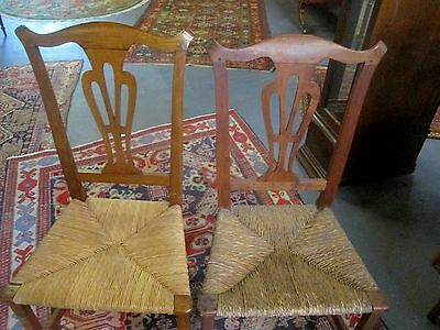 Pair Chippendale Antique Chairs W/rush Seats Circa 1700's Yoke Backs V Early