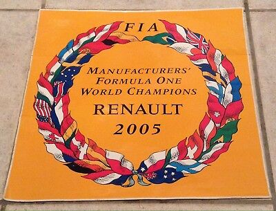 Autocollant / STICKER RENAULT F1 2005  MANUFACTURED FORMULA ONE WORLD CHAMPIONS
