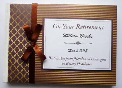 Personalised Brown & Gold Retirement/wedding/gift Guest Book - Any Colour