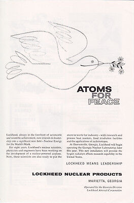 LOCKHEED Nuclear Products ATOMS FOR PEACE Marietta Georgia Vintage Advertisement