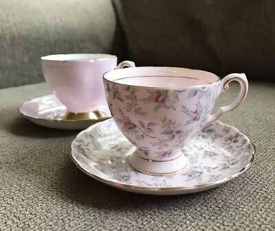 Lot Of 2 Vintage Teacups, Tuscan - Pink And Gold