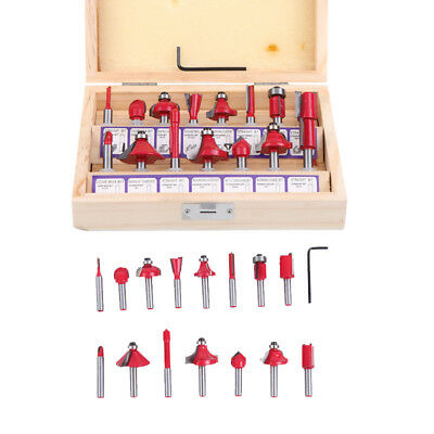 15pcs Carbide Router Bit Set 1/4 Inch Shank Tungsten Woodworking Routing