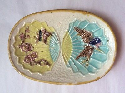 Antique Tray Wardle Majolica Bird & Fan Tray c.1870's, em68