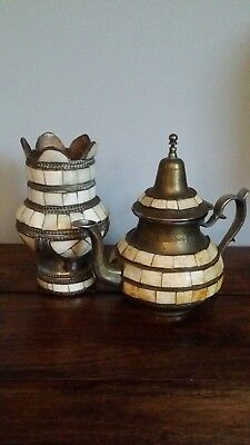 Vintage Middle Eastern Pewter and Mosaic Tile Teapot and Vase (Matching Set)