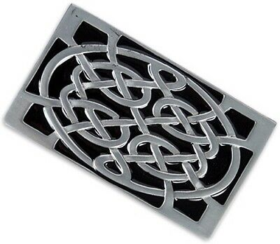 """Celtic Irish Knot Shield Belt Buckle Thick Solid Lead Free Pewter 3 1/2"""" x 2"""""""