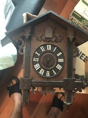 Old Antique  Railroad Cuckoo Clock Restore / Parts