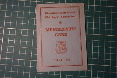 Chiswick county scool old boys association member card 1951