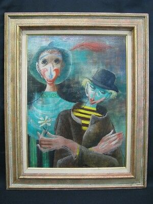 Listed Artist Robert J. Lee Mid-Century Oil On Board of Two Clowns Impressionism