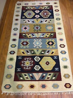 "Egyptian Hand-knotted New Zealand Wool Kilim (70""x38"")"