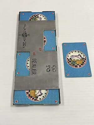 Vintage Bridge Casino Dealer Metal Shoe With All 52 Cards Chicken Ships Fast!