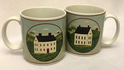 Sakura COUNTRY LIFE Set of Two (2) Mugs White House Red Door Warren Kimble 1998