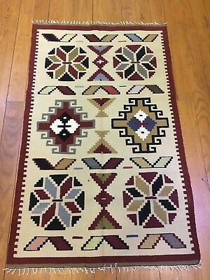 "Egyptian Hand-knotted Wool Cotton Kilim  (56""x34"")"