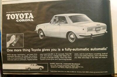 1969 Vintage Print Ad | TOYOTA CORONA | 1960s Car Automobile Style Japan