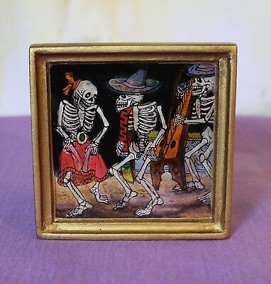 Day of the Dead Skeletons églomisé Hand Painted on Glass framed Peru Folk Art