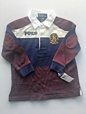 NWT Polo Ralph Lauren Purple Navy Boys Long Sleeve Rugby Shirt Size 24 Month