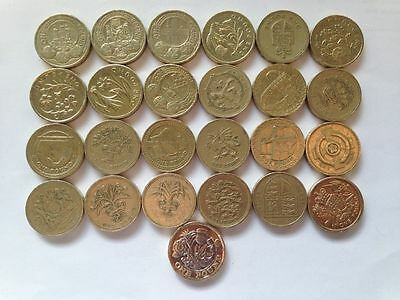 ONE Pound Coins  full set 25 coins + LAST round one coin pound in folder GIFT- 2
