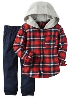 Carter's Boys Red Plaid Flannel Hooded Button Down & Navy Pants 2pc Set NWT $24